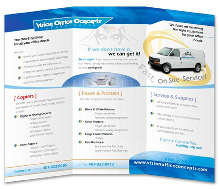 TOAD Web Site Custom Brochure for Vision Office Concepts